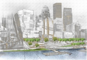 Figure 2: Waterfront development west of the second street bridge.